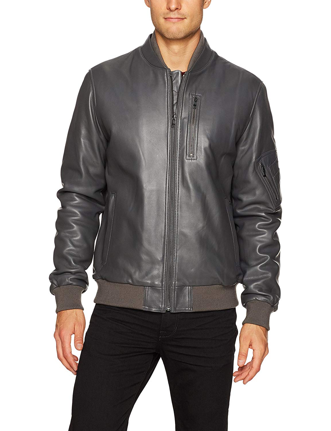 Bugatchi Men's Classic Fit Leather Bomber Jacket