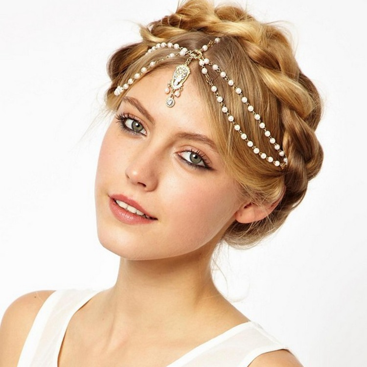 Wedding Hairstyles With Jewels: Wedding Hair Jewelry Hair Chain Accessory For Boho Head