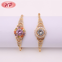 wholesale 2016 high quality new fashion adjustable wire 18k gold plated zircon bangle bracelet jewelry