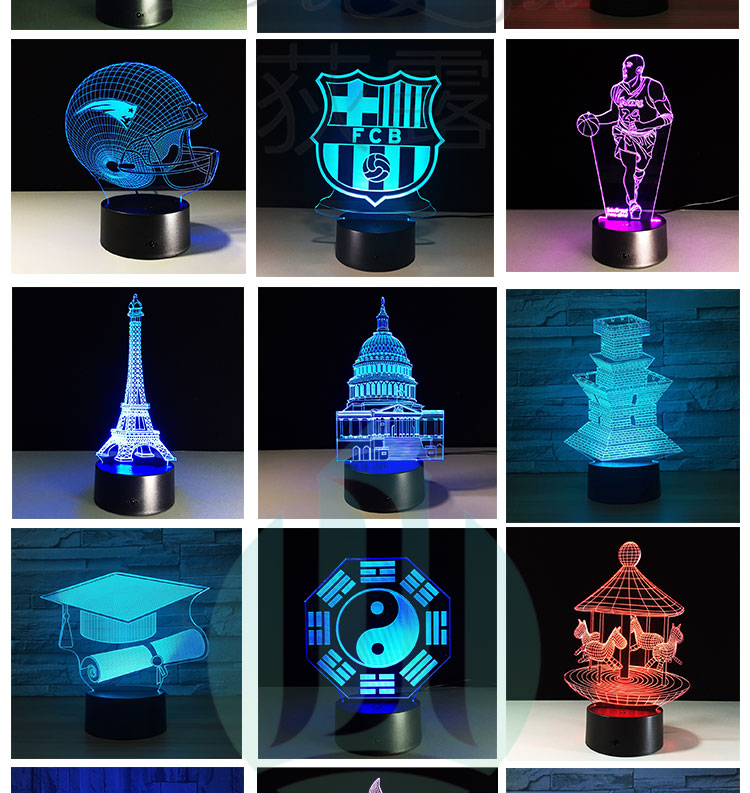 Smart Decorative 3D Optical illusion small USB LED glow smart lamp night vase light lamps
