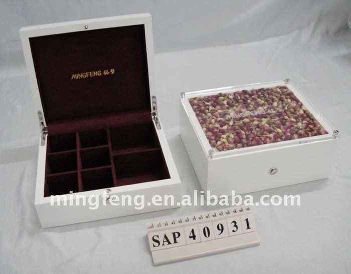 New white wood perfume box with dry flower