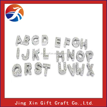 wholesale rhinestone silver plated 30mm slide letter