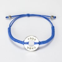 Polyester String Edition Round Bracelets, Stainless Steel Beads Charm Bracelet