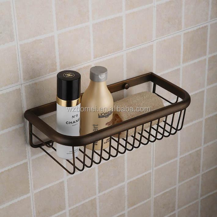 Antique Wall Mounted Metal Brass Bathroom Wire Basket ,storage Basket , Shelves For Bathroom Accessories