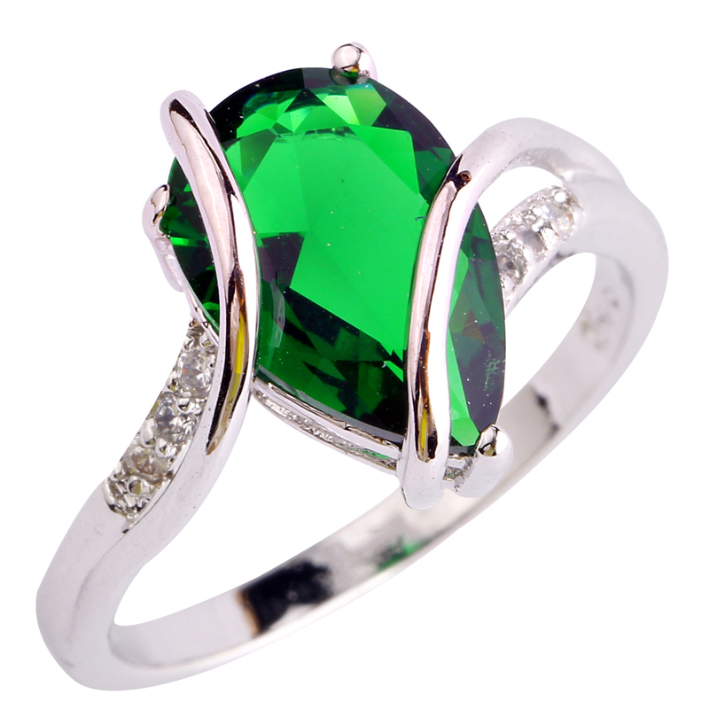 Fashion Jewelry AAA CZ Lab Green Emerald Quartz Silver 18K Gold Plated Ring Size 6 7