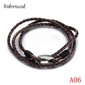Jewelry Fashion Men and Women Various Color Woven Leather Rope Bracelets silver Plated Lobster Bracelet