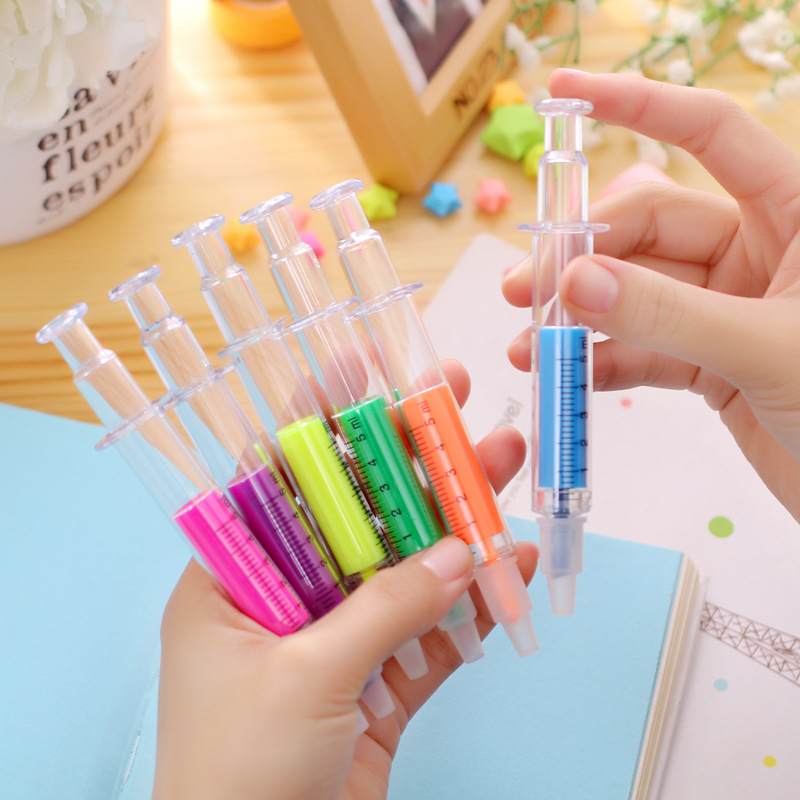 Fancy Injection Syringe Highlighter Needle Doctor Nurse Hospital Highlighter Pen For Promotional Gifts