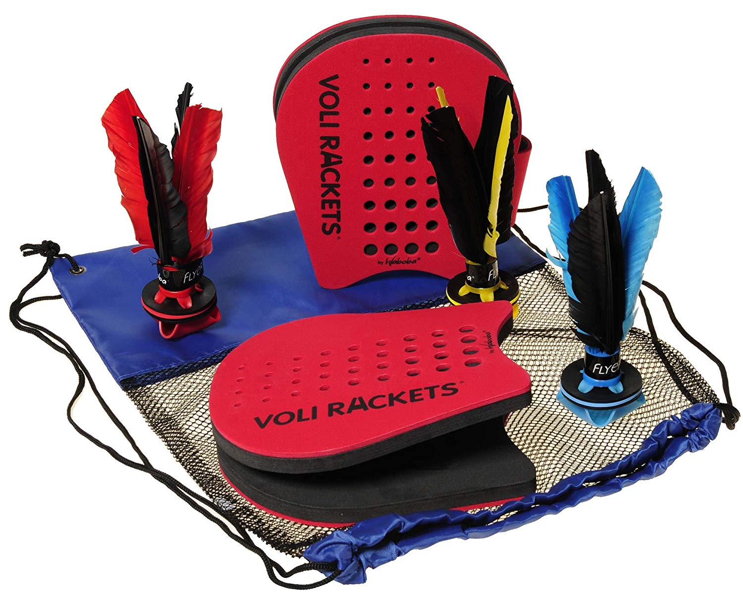 Waboba VOLI Racket Set (2 Paddles and Flyer) with 2 Extra FLYERS Random Colors_ Bonus BLUE Nylon/Black Mesh Drawstring Carry Pack Bundled Items