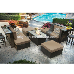 Hot sale pool party modern rattan sofa set with bar counter stool and outdoor fire pit table