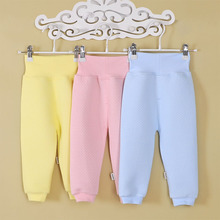 Cheap Clothing Newborn Pants Baby Boys Girls 100 Cotton Trousers Solid Color Soft High Waist Elastic