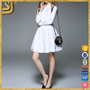 OEM clothing factory long sleeve dress, women's midi dress, white casual fashion dress