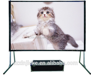 Removable digital projector mobile screen with flight case package