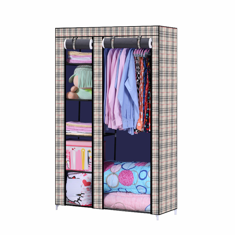 Bedroom Furniture simple wardrobe Thick waterproof non-woven fabrics reinforce steel  closet cloth cabinet with shoe rack h218