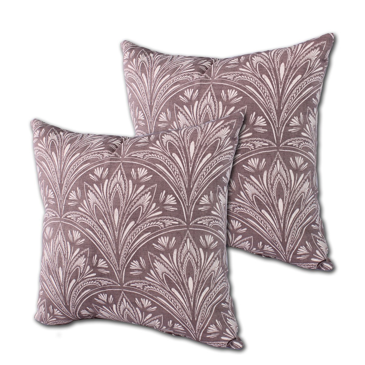 "Set of 2 Indoor/Outdoor Throw Pillow 16"" x 16"" x 4"" in Polyester Fabric Taupe Leaf by Comfort Classics Inc."
