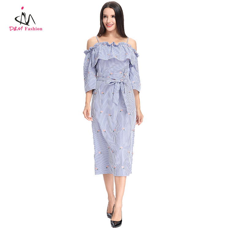 Slip Sexy Slash Neck Lotus Leaf Ruffled Women Summer Dress Bow Tie Waist Flower Embroidery Blue White Stripe Tunic Shift Dress