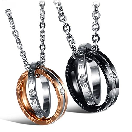"""Titanium Stainless Steel His & Hers Couple Interlocking Rings Pendant Necklace Valentine Set,""""The World Looks Wonderful When I AM with You"""" &""""Eternal Love"""" Words Engraved (Pair-for His&Hers)"""