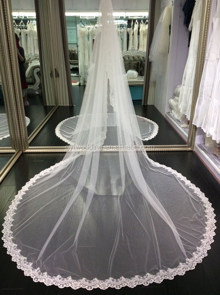 High Quality One-Layer Long Lace Bridal Veils Cathedral Bridal Bride Veils C004