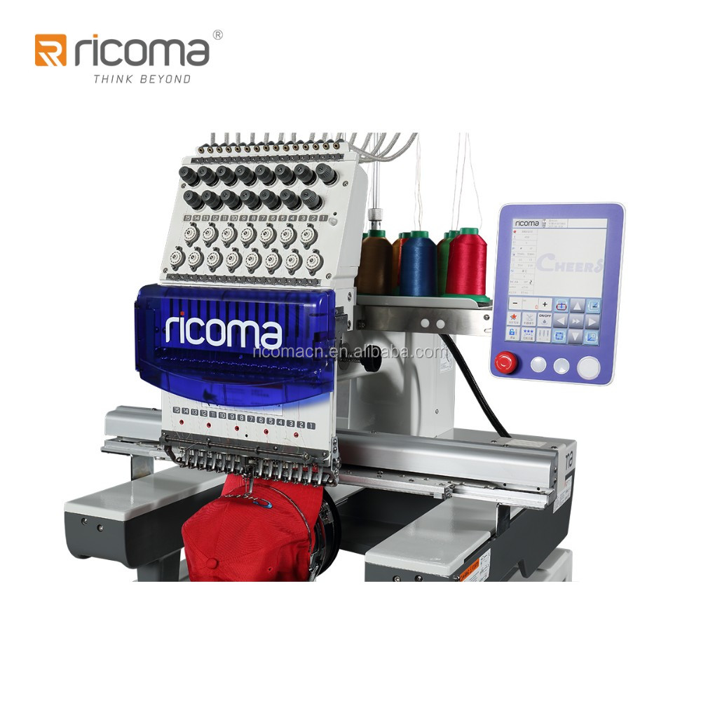 Commercial 15 Colors Single-Head Computer Embroidery Machines RCM-1501TC-8S Price for Cap/T-shirt/Flat Embroidery