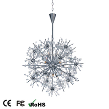artificial firefly glass crystal sphere flower chandelier pendant light