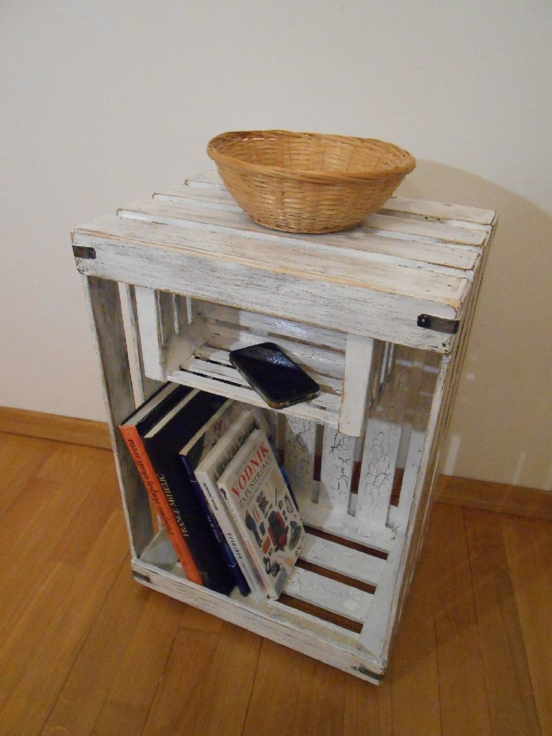 Buy Wooden Shabby Chic Apple Crate Bedside Table Display