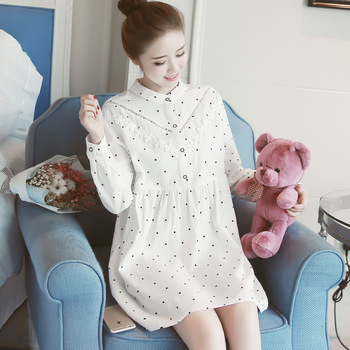 Cotton long sleeve maternal clothing 2018 Korean style spring printed maternity dresses