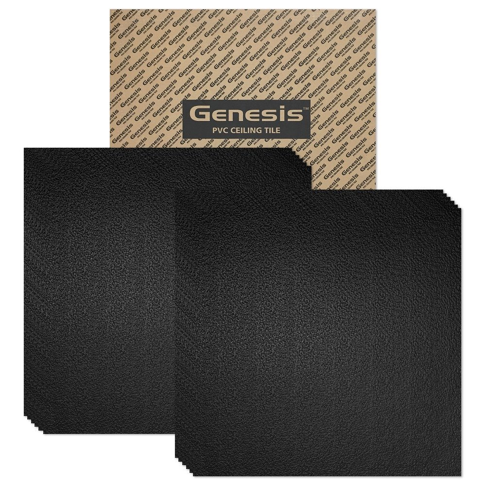 Genesis - Stucco Pro Black 2x2 Ceiling Tiles 5 mm thick (carton of 12) – These 2'x2' Drop Ceiling Tiles are Water Proof and Won't Break - Fast and Easy Installation and a Great Alternative to Acoustical Ceiling Tiles - 25 Year Warranty (2' x 2' Tile)
