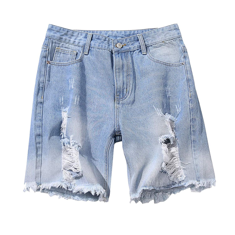 Hzcx Fashion Men's Lightweight Summer Straight Blue Ripped Holes Denim Shorts