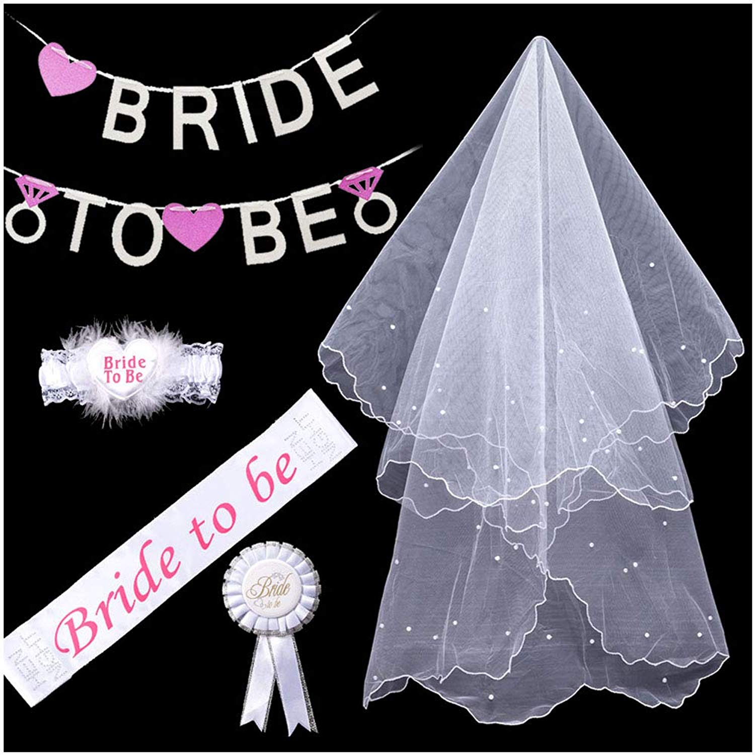 Glitter Rhinestone Bride to Be Sash and Veil Tiara Bride to Be Satin Sash Hen Party Favors Supplies Wedding Decorations White Double Ribbon Edge Center Cascade Bridal Wedding Veil with Comb