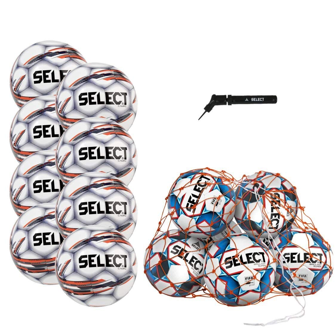 Select Campo Soccer Ball Package - Pack of 8 Soccer Balls Ball Net Hand Pump, White, Size 5