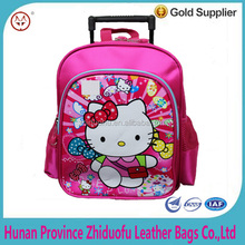 Wholesale Cartoon Wheeled New Design Child Kids Trolley School Bag Hello Kitty trolley School Bags