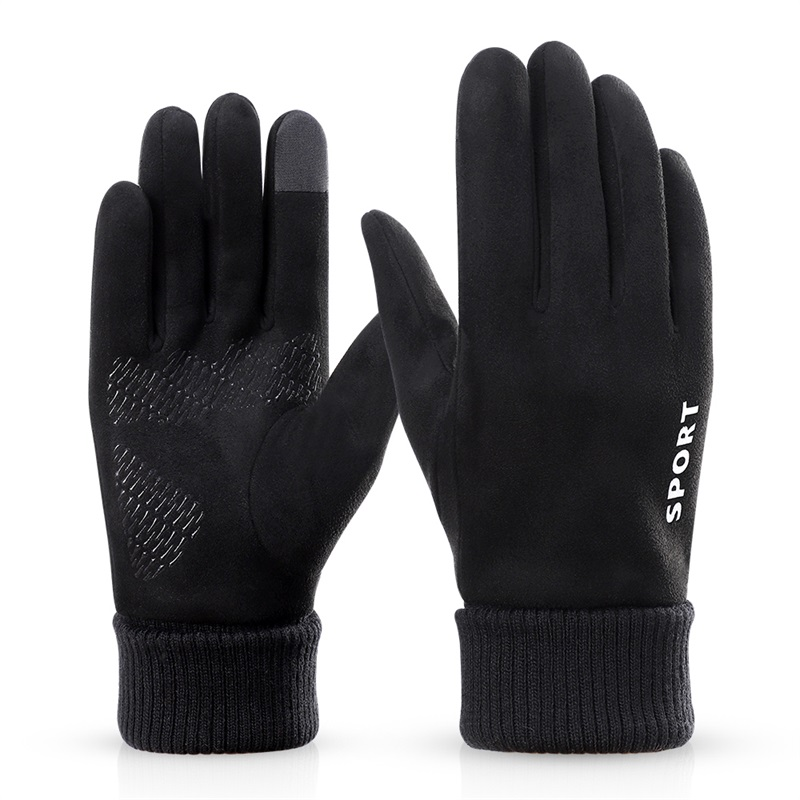 Wholesale unisex fleece sport men warm touch screen gloves winter