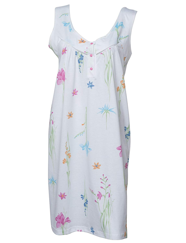 Get Quotations · Waite Ltd Waites Ladies Floral 100% Jersey Cotton  Nightdress Sleeveless Flower Nightie (White) db52ec7f5