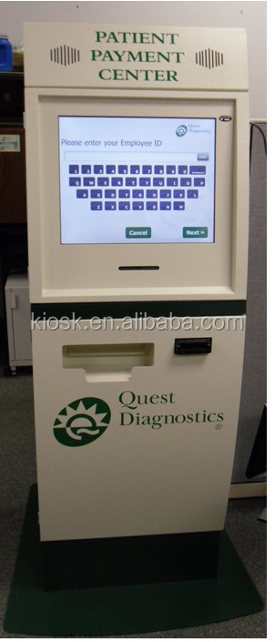 patient check-in kiosk, touch screen kiosk, self payment kiosk