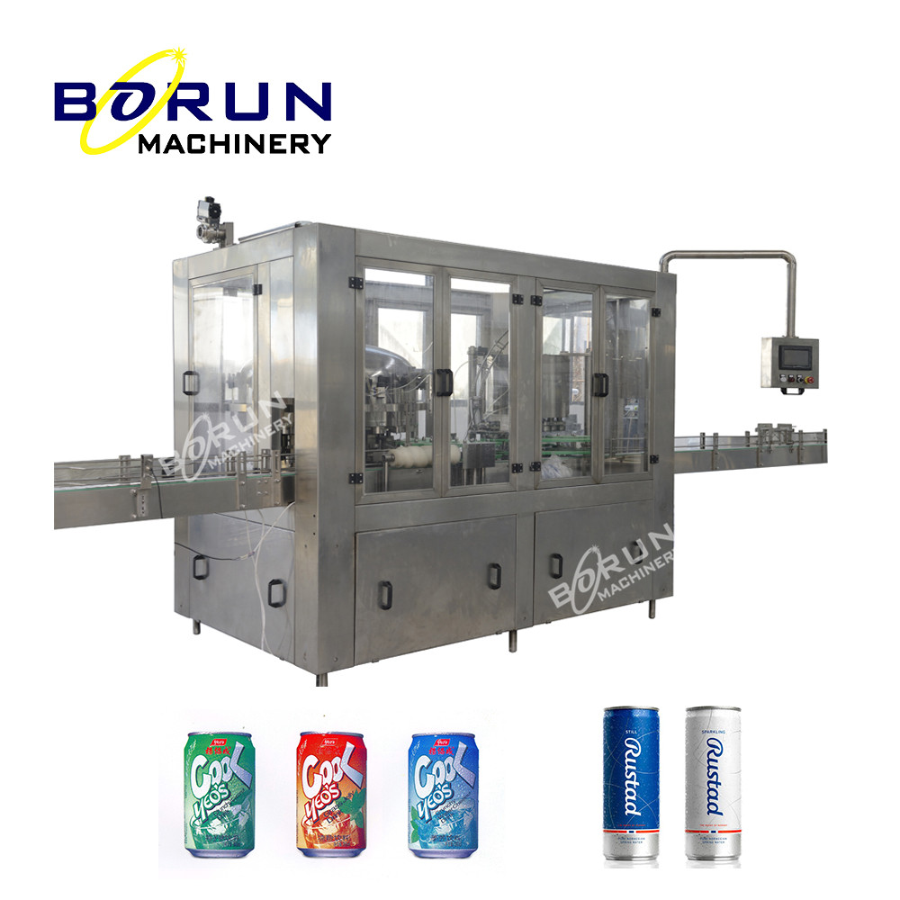 Can Filling and Sealing Production Line / Canning Machine For Carbonated Drinks