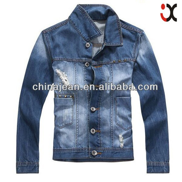 Top quality fashion mens denim jackets mens blue fashion jeans jackets men low price denim jacket (JXJ25863)