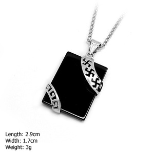DZ-502 Handsome Big Gen Jewelry 925 Sterling Silver Square Agate Pendent For Men