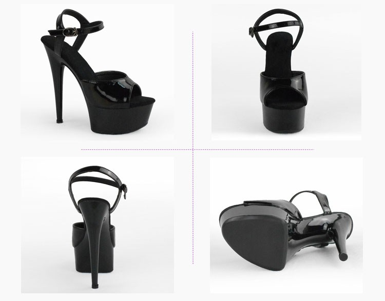 f62c09c460ba 6 Inches Black Mid Round Heel Platform High Heel Shoes Sandals For Girls