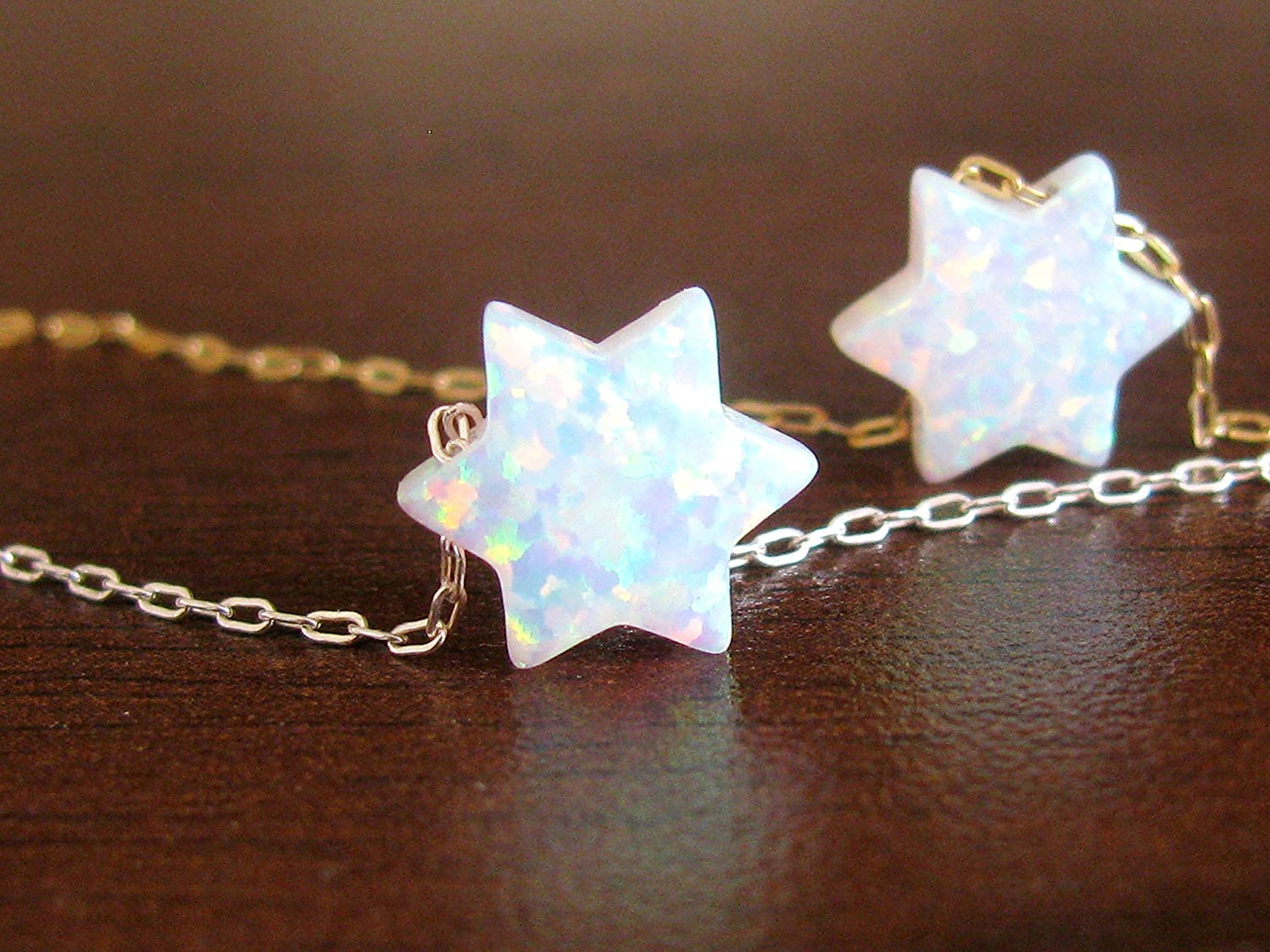 Opal necklace, Star of David necklace, gold necklace, opal bead necklace, opal jewelry, Jewish star, Jewish jewelry, Star of David, white opal