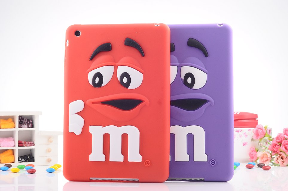 3D Cute Silicone Kids M&M Chocolate jelly Bean Cover Case for ipad mini 1/2/3,10pcs/lot