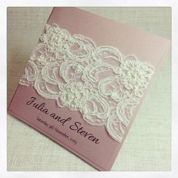 Beautiful Beaded Lace Wedding Invitations | Lace Wedding Cards