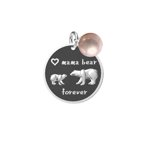 Mama bear pearl mount pendant 925 sterling silver mum heart mom necklace oxide silver bear jewelry pearl settings