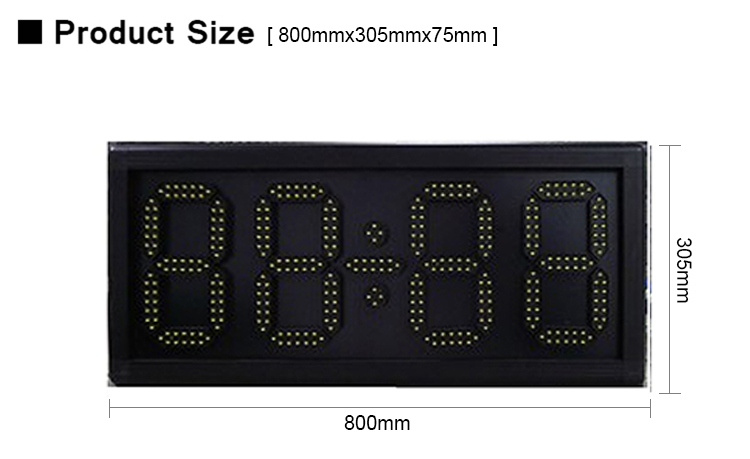 led Digital billboard 8 inch Digital colok date led display yellow