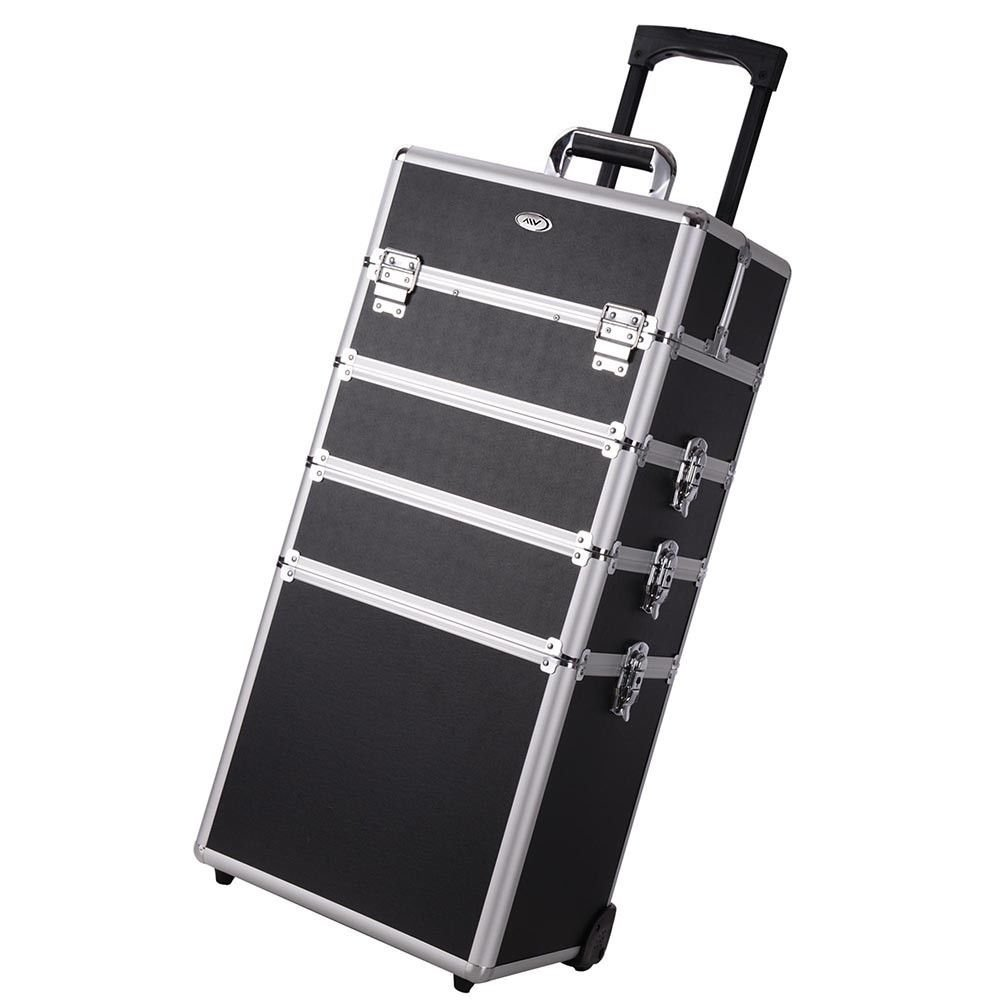 [WALLER PAA] 4in1 Interchangeable Aluminum Rolling Makeup Case Cosmetic Wheeled