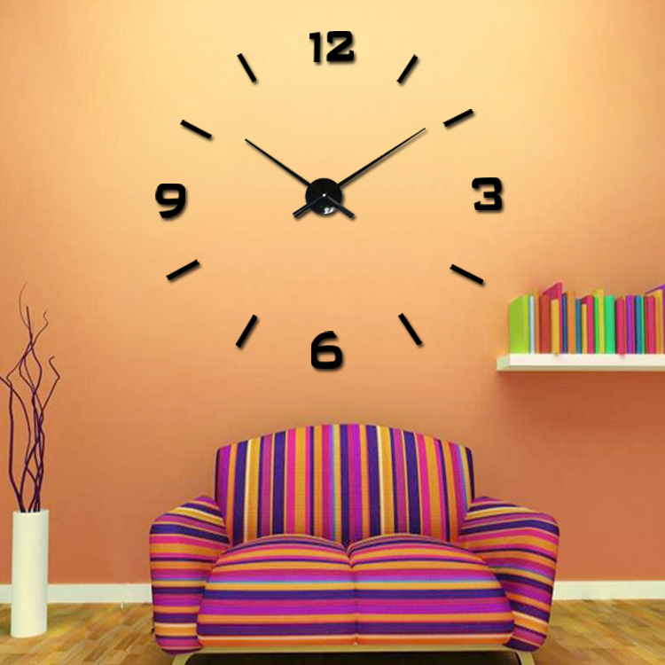 3d Wall Sticker Mirror Clock Diy Home Decor Large Wall Mounted Clock ...