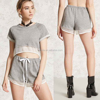 b4f6dac950ec cute summer fall outfits Marled Contrast Sheer Mesh Knit French terry  Raglan Crop Top And Shorts