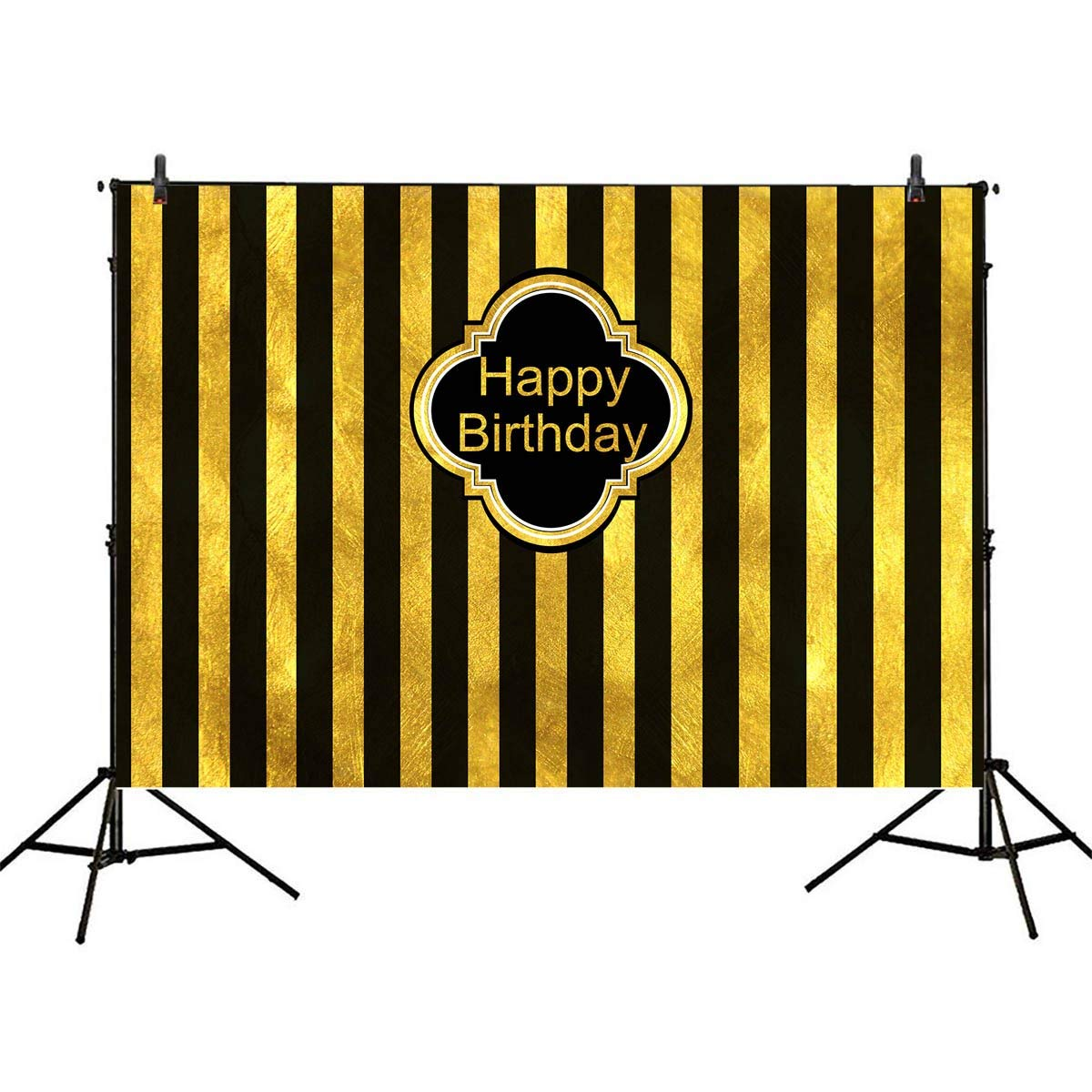 Mehofoto Gold Black Stripes Backdrop Happy Birthday Background 7x5ft Children Adult Birthday Party Decoration Banner Photo Studio Booth Background