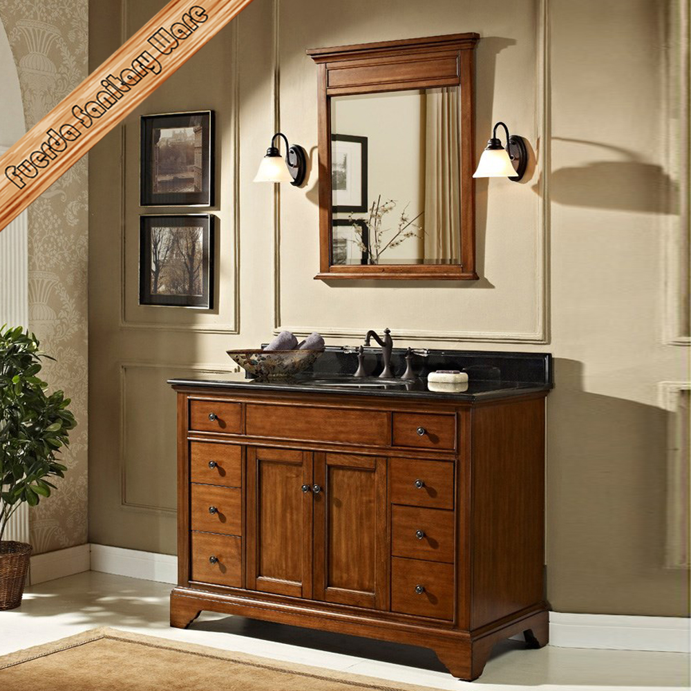FED-1538 transitional solid wood cabinet vanity bathroom