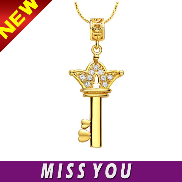 925 sterling silver plated key necklace made in china