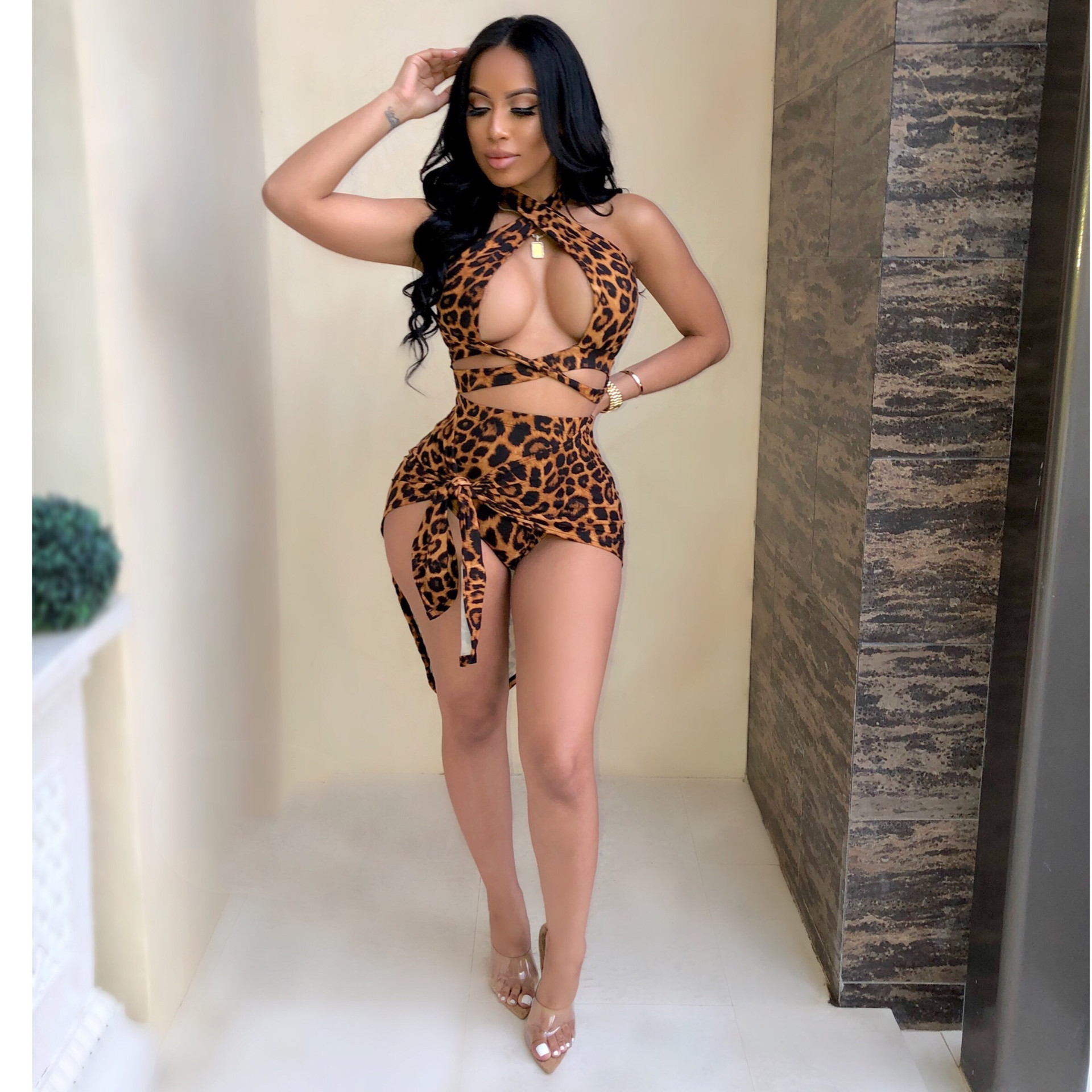 2019 Hot selling europe fashion lady sexy summer 2 piece leopard bodycon bandage mini dress