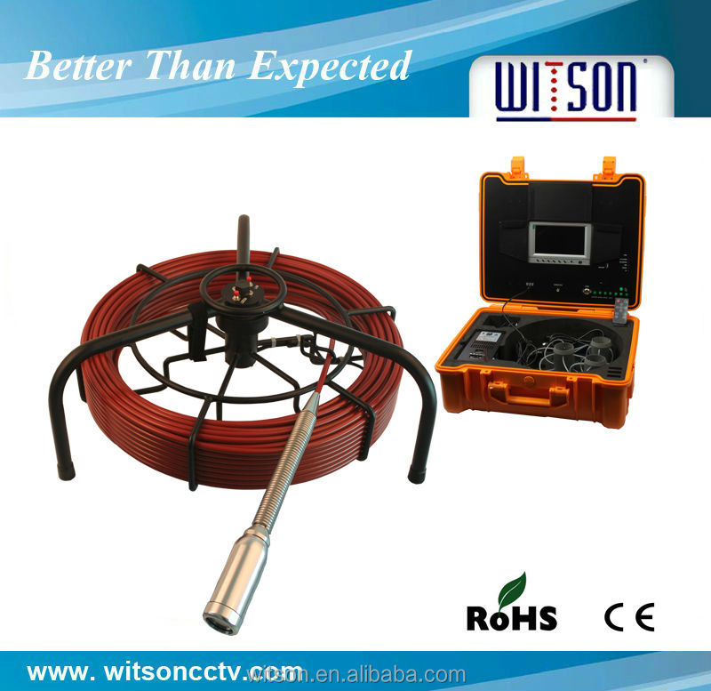 Witson 40mm self-leveling Sewer camera for drain cleaning 60m fiberglass cable(W3-CMP3588)